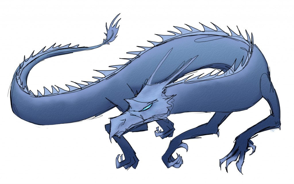 blue scaly dragon