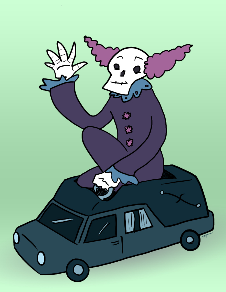 skull clown car